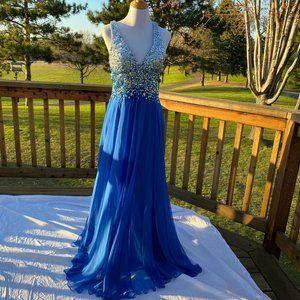La Femme Formal Prom Open Back Long Halter Dress 6